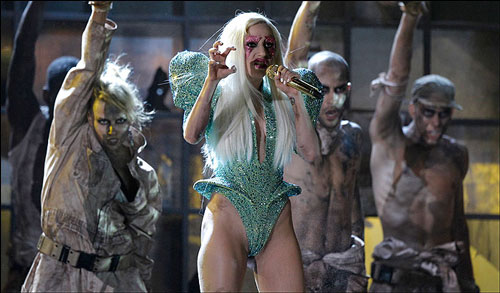 Lady Gaga high-cut green leotard