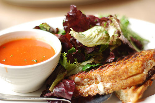 grilled cheese sandwich, tomato soup and salad