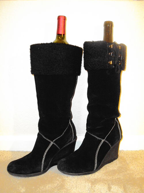 wine bottles in black boots