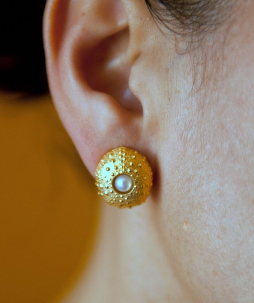 gold plated sea urchin pearl earrings
