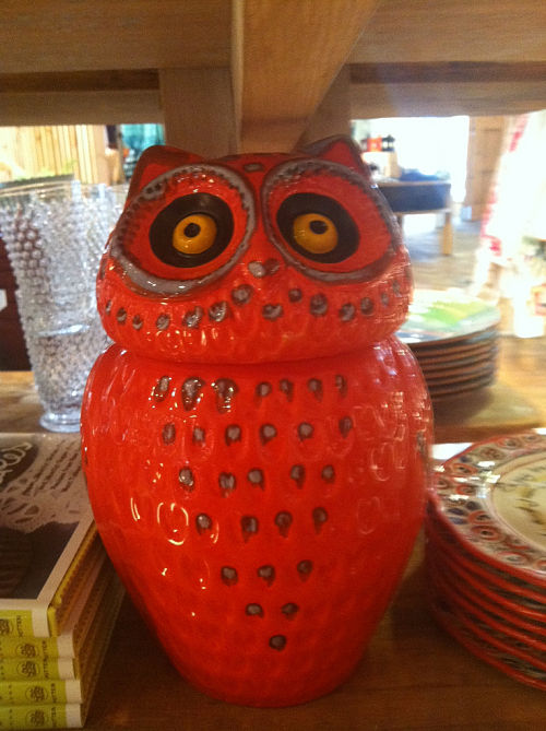 wise ol' cookie jar orange owl anthropologie