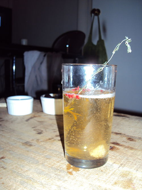 pink peppercorn thyme champagne cocktail