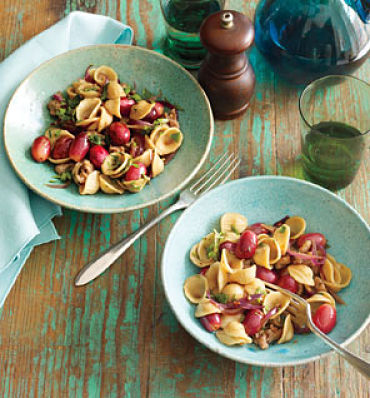 pasta with sausage and red grapes shape magazine 6 sweet suppers