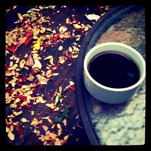 coffee and autumn leaves