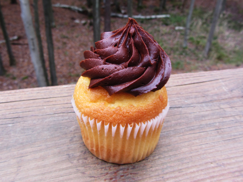 vanilla cupcake with chocolate frosting sweet bakery baltimore maryland