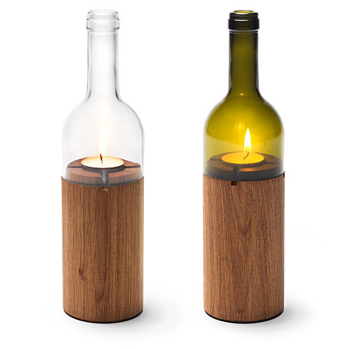 uncommon goods wine bottle tealight holder