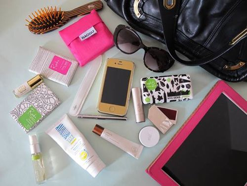 beauty products inside spirit demerson's purse