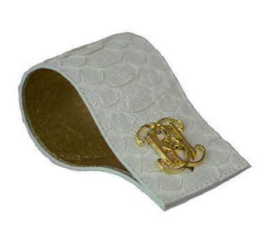 bolbach silver python cuff with logo cufflink