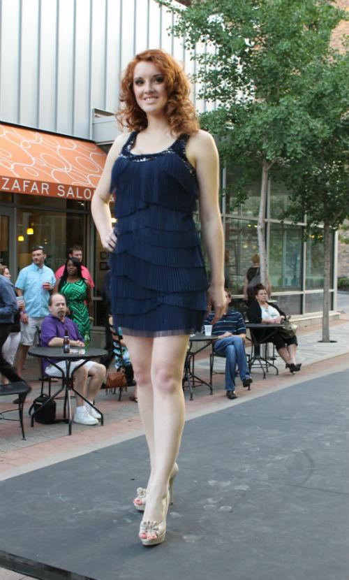 navy fringe dress