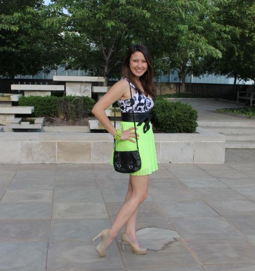 kimberlyloc neon skirt urban outfitters