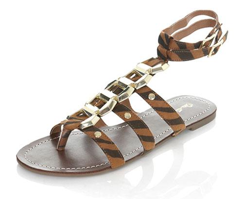 tiger print gladiator sandals