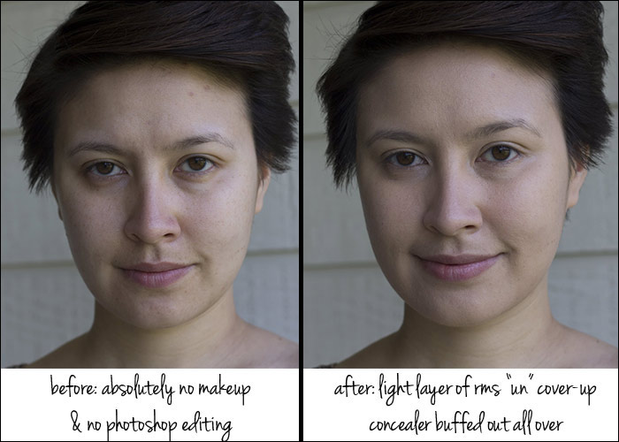 kimberlyloc without makeup and with rms beauty concealer and alima ...