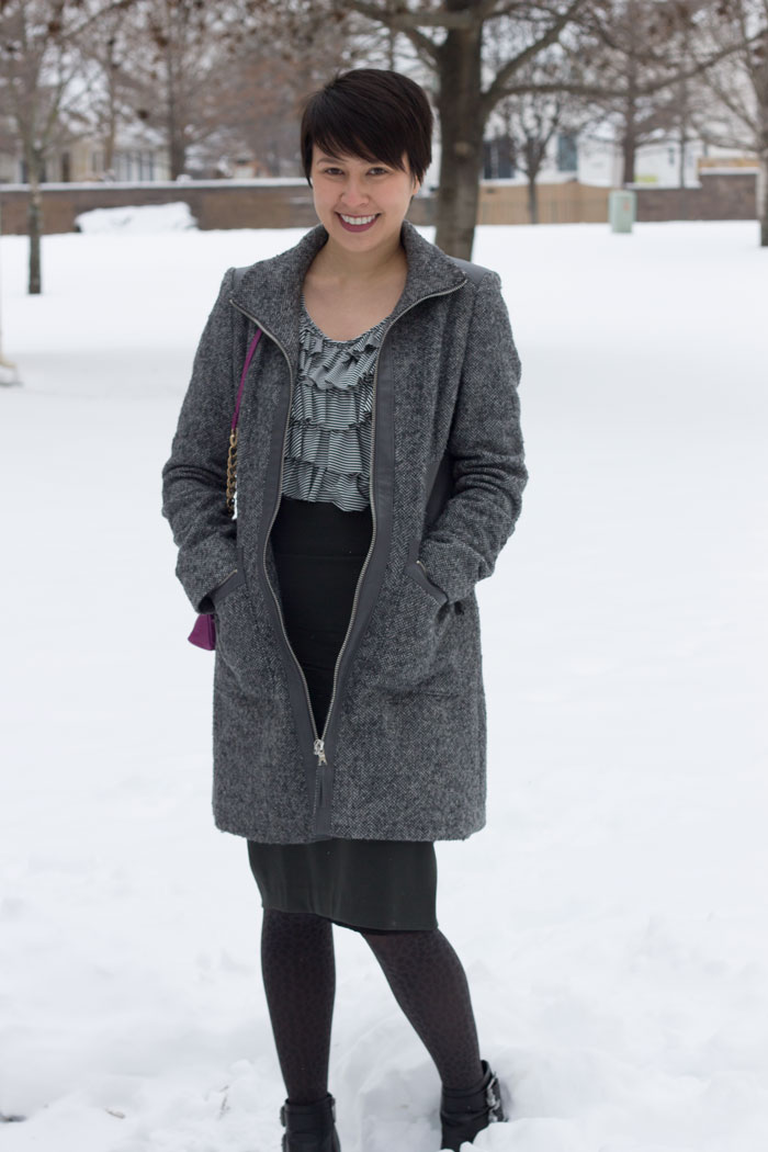 kimberlyloc wears a dark olive green na martin pencil skirt and gray via spiga coat