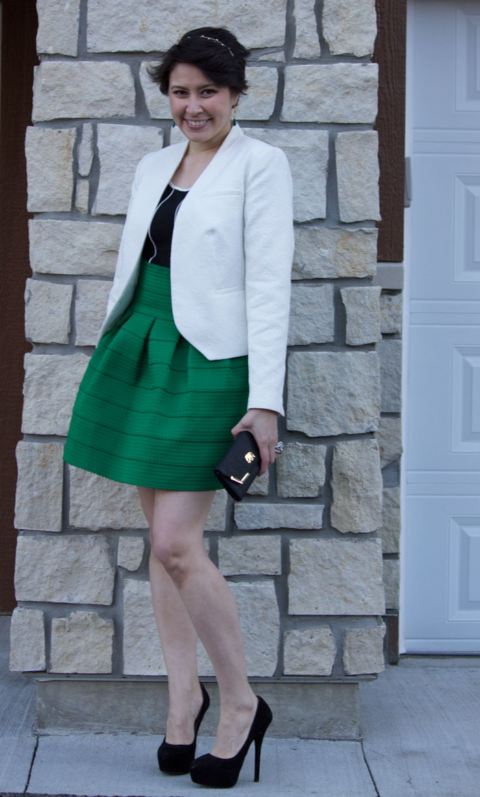 anthropologie green ponte bell skirt