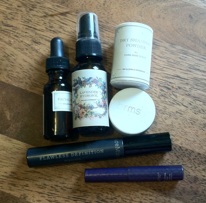 what's inside mullein & sparrow founder anit hora's green beauty bag